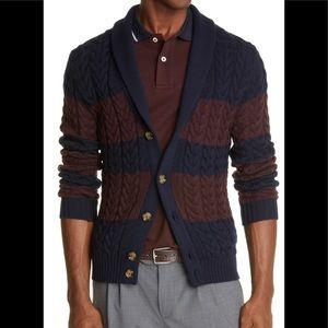 Eleventy Mens Stripe Shawl Collar Wool Cardigan M